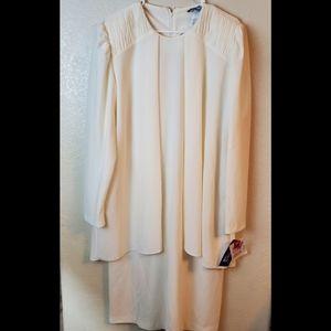 Vintage 60s Cream Modest Chiffon Layer Dress